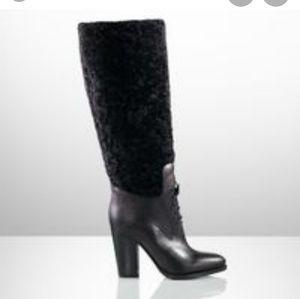 RALPH LAUREN COLLECTION shearling knee hi boots